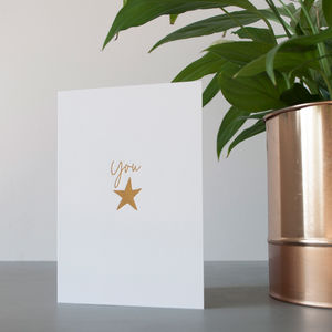 You Star Gold Foil Card - good luck cards
