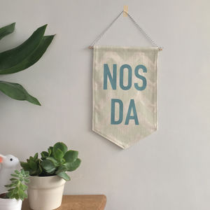 'Nos Da' Welsh Banner - wall hangings for children