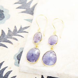 Pebble Double Stone Drops - earrings