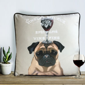 Pug Cushion, Dog Au Vin Wine Gift - bedroom