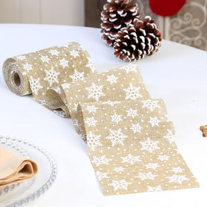 Jute Festive Snowflake Table Runner