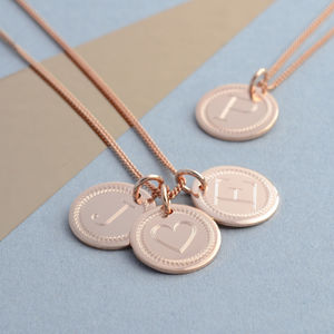 Rose Gold Initial Charm Necklace - rose gold jewellery