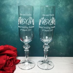 Personalised Anniversary Champagne Flutes - 60th anniversary: diamond