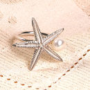 Silver Starfish And Pearl Ring