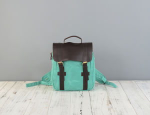 Personalised Womens Waxed Canvas And Leather Backpack
