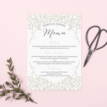 Enchanted Forest Wedding Menu Cards