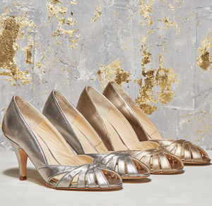 Floriana Metallic Peep Toe Shoes - bridal shoes