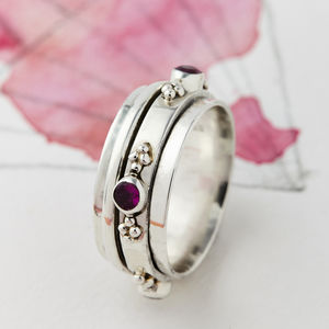 Rajput Tourmaline Spinning Ring - birthstone jewellery gifts