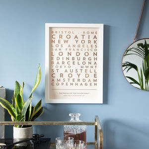 Personalised Metallic Foil Travel Destinations Print