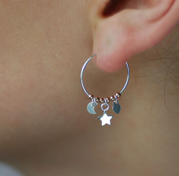Mini Silver Hoop And Charm Earrings