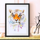Tiger Wildlife Botanical Art Print