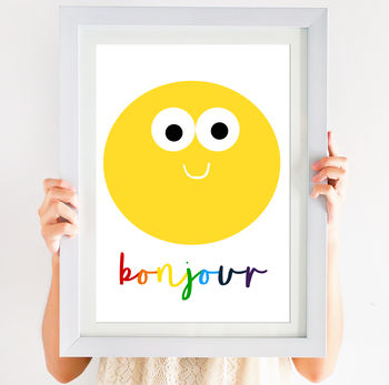 Happy Smiley Face Bonjour Hello Print