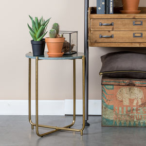 Deep Emerald Green Marble Side Table - furniture