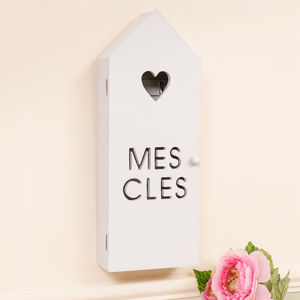 French Country Cottage Grey Wooden Key Box Holder