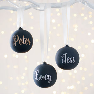 Personalised Black Ceramic Glitter Bauble - personalised