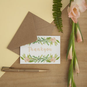 Set Of Six Floral Mini Thankyou Cards - cards