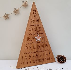 Engraved Oak Advent Calendar
