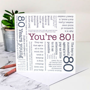 80th Birthday Card 'You're 80!' Quotes