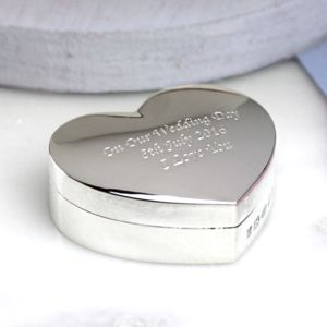 Solid Silver Heart Shaped Box - jewellery storage & trinket boxes