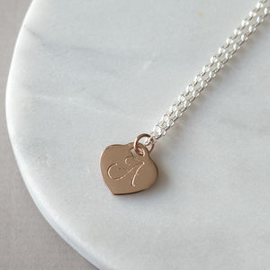 Personalised Rose Gold Initial Heart Necklace - necklaces & pendants