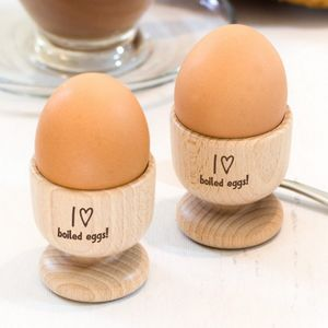 Personalised Heart Wooden Egg Cup Set