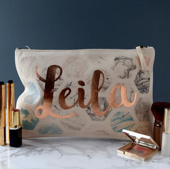 Personalised Marble Effect Make Up Bag