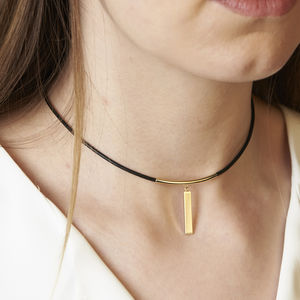 Leather And Bar Choker - new season