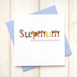 Personalised Floral Stepmother Mothers Day Card