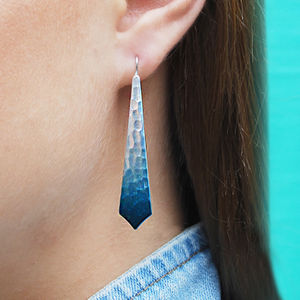 Blue Silver Graduated Long Drop Earrings