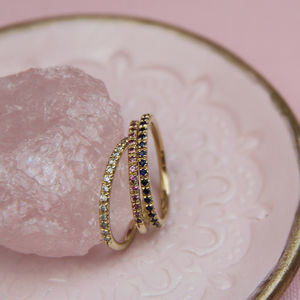 Gold And Gemstone Half Eternity Ring - rings