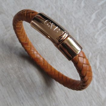 Rose Gold Plaited Leather Bracelet