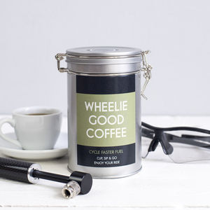 Cyclists 'Wheelie Good Coffee' Gift Tin - gifts for cyclists