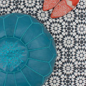 Moroccan Leather Pouffe Cover, Bright Collection - dining room