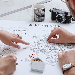 Personalised World Pinboard Map With Pins