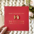 Red Wooden Penguin Valentines Day Gold Foiled Card