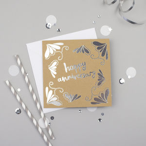 Happy Anniversary Silver Foiled Card - anniversary cards