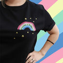 Personalised Printed And Embroidered Rainbow T Shirt