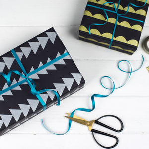 Metallic Geometric Wrapping Paper Gift Set - ribbon & wrap