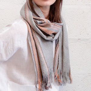 Cecile Herringbone Handwoven Silk And Cashmere Scarf - scarves