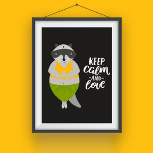 Cartoon Badger Print 'Keep Calm And Love' - new in prints & art