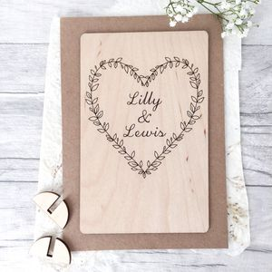 Personalised Wedding Wooden Card - wedding cards