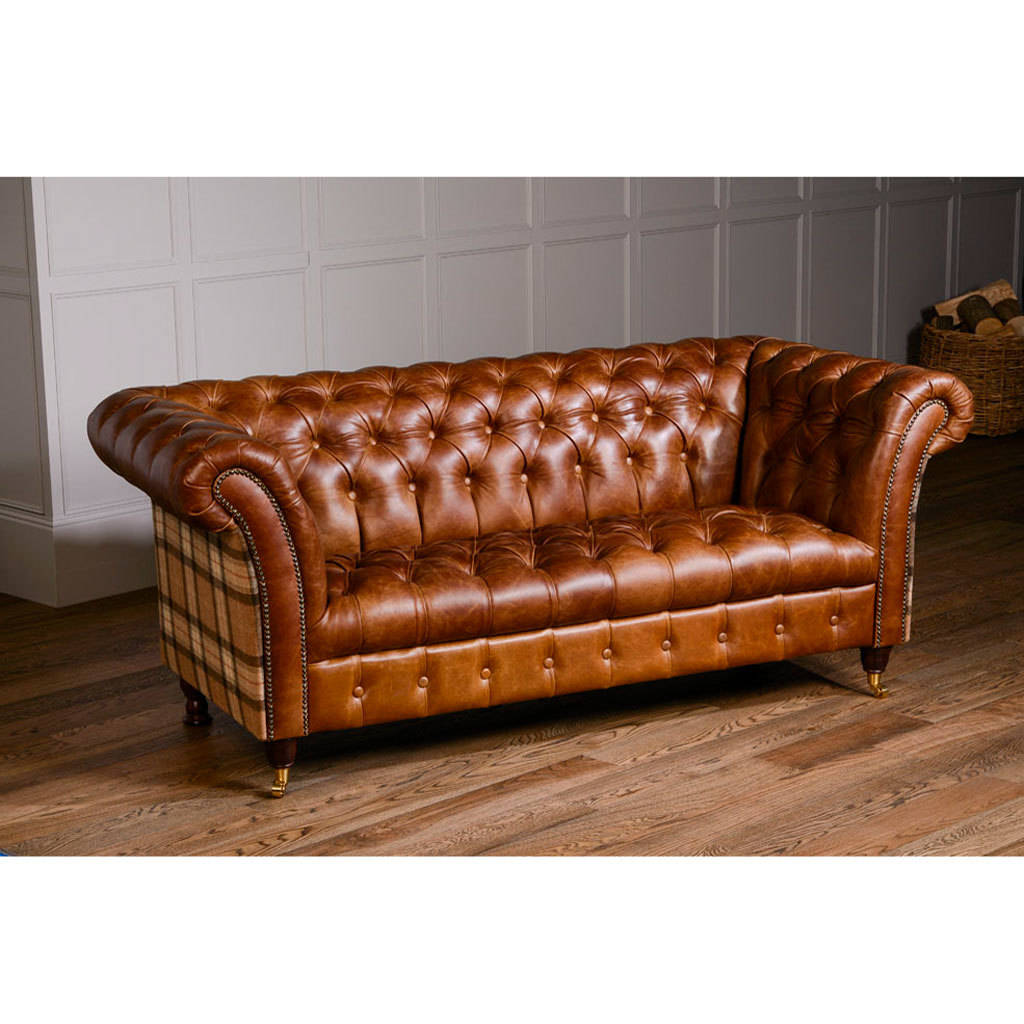 Harris Tweed Or Vintage Leather Chesterfield Sofa