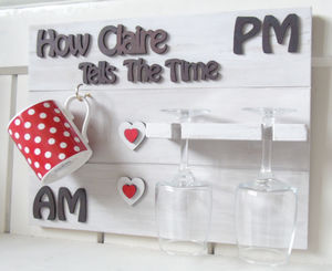 Mum/Nanny Personalised Wine And Coffee Novelty 'Clock' - wine racks & storage