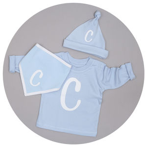 Personalised Initial T Shirt, Hat And Bib Set - hats, scarves & gloves