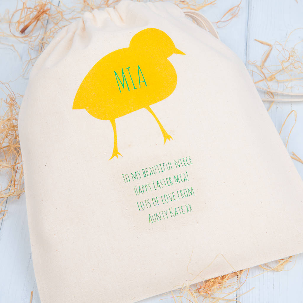 Personalised chick easter gift bags by british and bespoke personalised chick easter gift bags negle Images