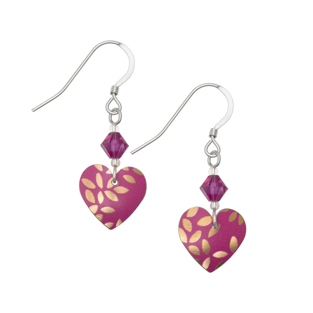 Pink Heart Colourful Earrings With Swarovski Crystal