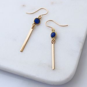 Blue Lapis Gold Bar Earrings - earrings