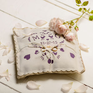 Personalised Ring Pillow With Custom Satin Panel - wedding ring pillows