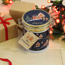 Navy Gingerbread Wonderland Clamp Tin Of Hot Chocolate