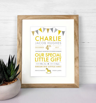 Special Baby Details Personalised Print